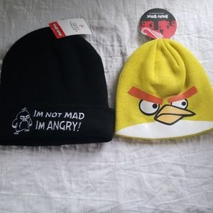 2 Angry Bird beanie hats. 1 adult 1 child